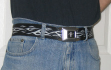 Mustang Seatbelt Belt with Silver Flames